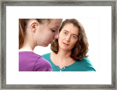 Mother And Teenage Daughter Arguing Framed Print by Aj Photo
