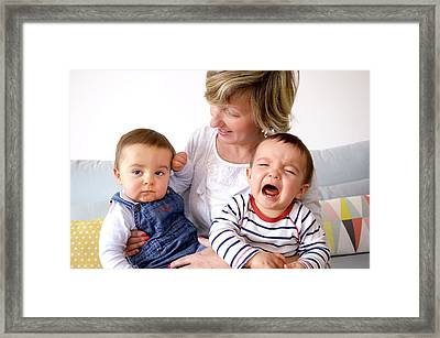 Mother And Twin Baby Sons Framed Print by Aj Photo