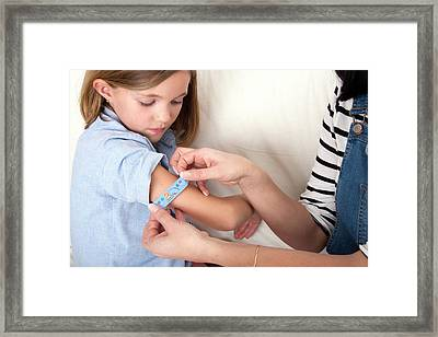 Mother Applying Plaster To Daughter Framed Print by Lea Paterson