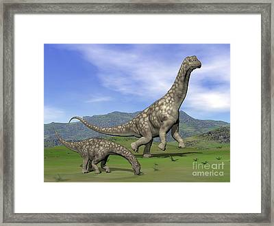Mother Argentinosaurus Dinosaur Framed Print by Elena Duvernay