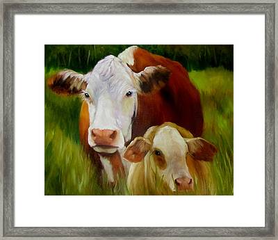 Mother Cow And Baby Calf Framed Print