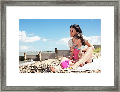 Mother Daughter On Beach Framed Print