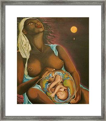 Mother Earth - Terre-mere  Framed Print by Therese Rouleau