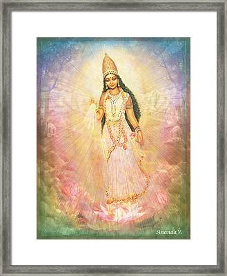 Mother Goddess In Rainbow Colours Framed Print by Ananda Vdovic