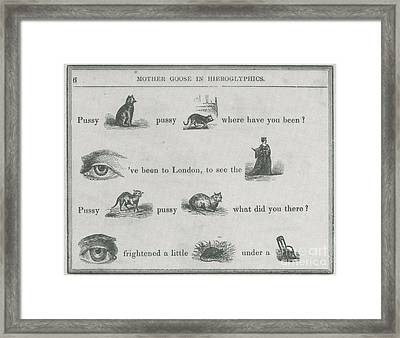 Mother Goose In Hieroglyphics, 1855 Framed Print by Photo Researchers