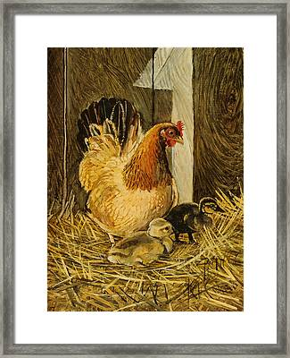 Framed Print featuring the painting Mother Hen by Steve Spencer