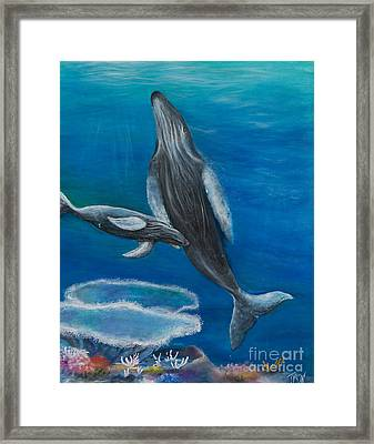 Mother Humpback And Her Calf Framed Print by John Garland  Tyson