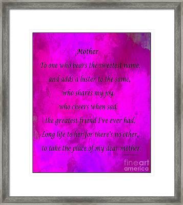 Mother - Magenta Watercolor Framed Print