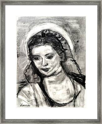 Framed Print featuring the painting Mother Mary-let It Be by Helena Bebirian