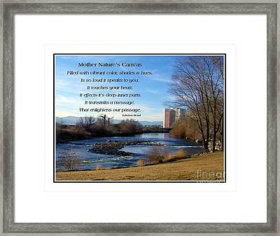 Framed Print featuring the photograph Mother Natures Canvas by Bobbee Rickard