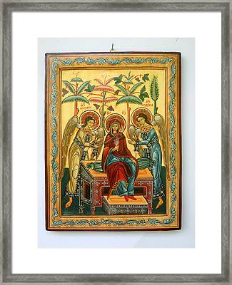 Mother Of God In Heaven With The Archangels Hand Painted Holy Orthodox Wooden Icon Framed Print by Denise Clemenco
