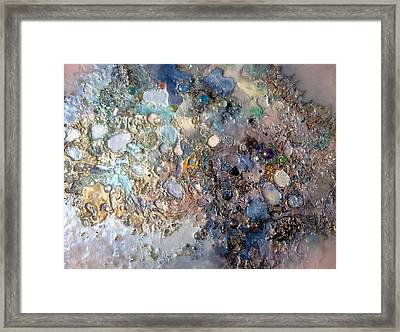 Mother-of-pearl And Pink On Gold Surface Framed Print