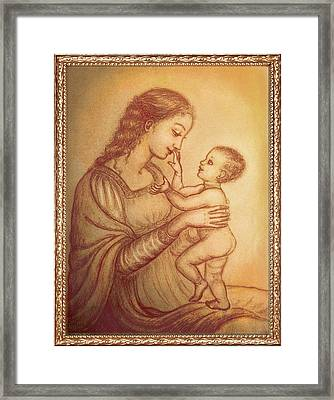Mother Playing With Her Child Framed Print