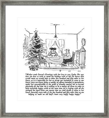 Mother Sends Season's Greetings With Her Love Framed Print