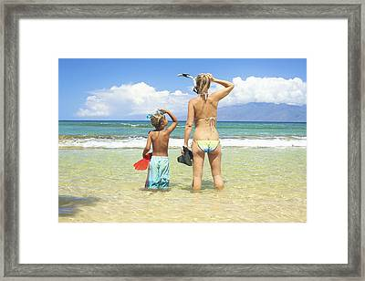 Mother Son Snorkel Framed Print by Kicka Witte