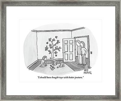 Mother Speaks To Husband About Their Daughter Framed Print