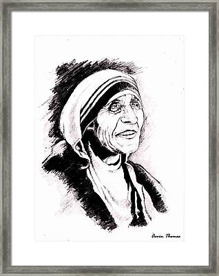 Mother Teresa Framed Print by Aevin Thomas