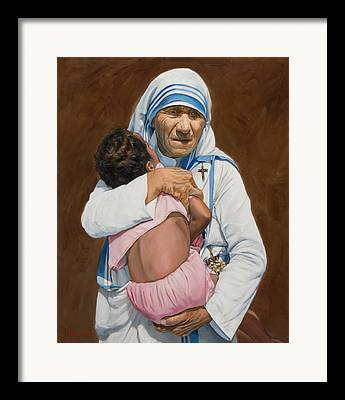 Woman Figure Mother Teresa Framed Prints