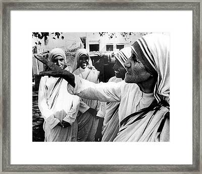 Mother Teresa Points Something Out Framed Print