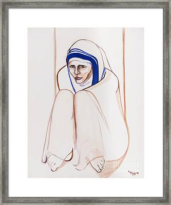 Mother Theresa Sitting Framed Print