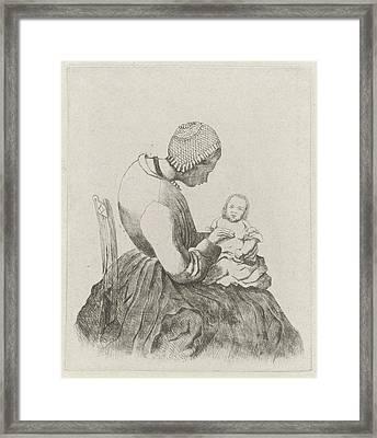 Mother With Child, Eberhard Cornelis Rahms Framed Print by Eberhard Cornelis Rahms