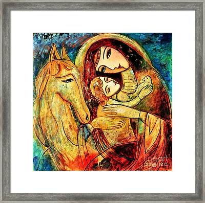 Mother With Child On Horse Framed Print by Shijun Munns