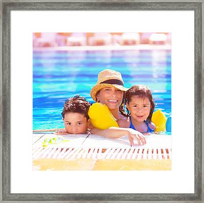Mother With Kids In Poolside Framed Print by Anna Om