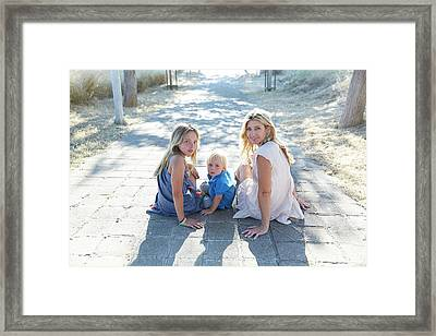Mother With Son And Daughter Framed Print