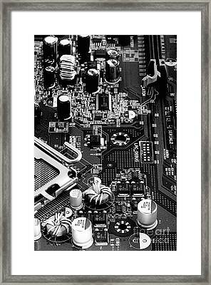Motherboard Black And White Framed Print by Vinnie Oakes
