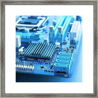 Motherboard Framed Print by Science Photo Library