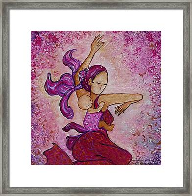 Framed Print featuring the painting Motherhood Babywearing Artwork Dancing Together by Gioia Albano
