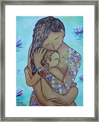 Motherhood Flowers All Over Framed Print by Gioia Albano