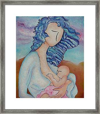 Motherhood Painting Everywhere Original Oil By Gioia Albano Framed Print by Gioia Albano