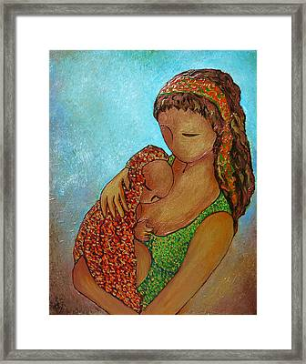 Motherhood Painting Just Close To You Original By Gioia Albano Framed Print