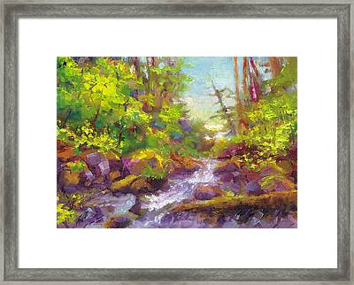 Mother's Day Oasis - Woodland River Framed Print by Talya Johnson