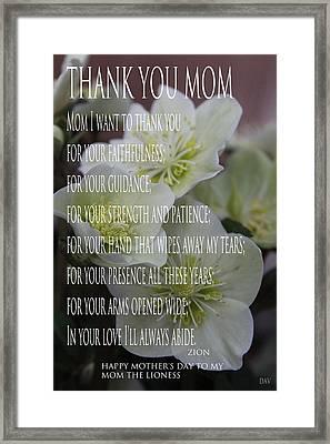 Mothers Day  Poem Framed Print by Debra     Vatalaro