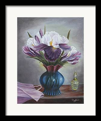 Still Life With Blue And Purple Background Framed Prints