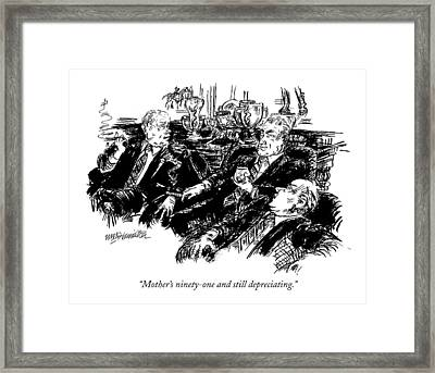 Mother's Ninety-one And Still Depreciating Framed Print by William Hamilton