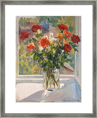 Mothers Roses Framed Print by Victoria Kharchenko