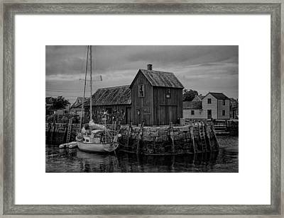 Motif Number 1 - Rockport Harbor Bw Framed Print