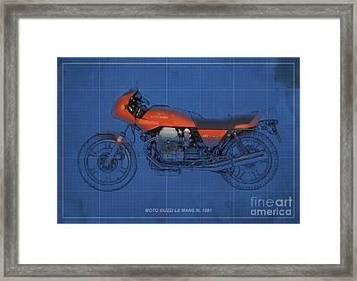 Moto Guzzi Le Mans IIi 1981 Vintage Style Framed Print by Pablo Franchi