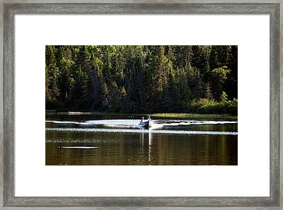 Motor Boat On The Lake Framed Print by Marek Poplawski