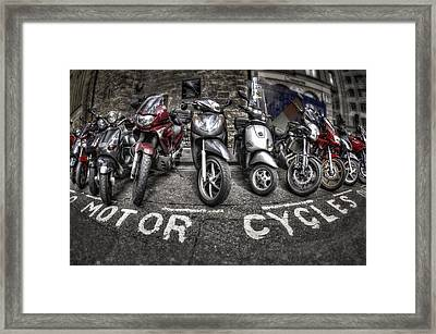 Motor Cycles Framed Print by Evelina Kremsdorf