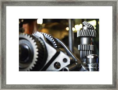 Motor Gears To Be Assembled Framed Print by Sami Sarkis