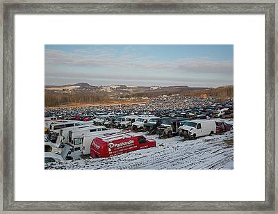 Motor Vehicles At A Scrapyard Framed Print