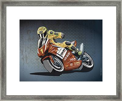 Motorbike Racing Grunge Color Framed Print by Frank Ramspott
