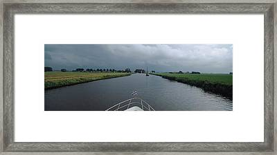 Motorboat In A Canal, Friesland Framed Print by Panoramic Images
