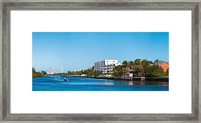 Motorboats On Intracoastal Waterway Framed Print