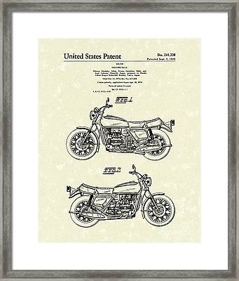 Motorcycle 1976 Patent Art Framed Print
