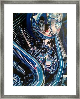 Motorcycle Abstract Framed Print by Molly Gossett